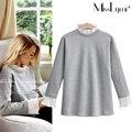 XXXL 4XL 5XL Plus Size Mulheres Tops 2017 Primavera Outono moda pétalas gola flare manga longa magro ocasional algodão T-shirt