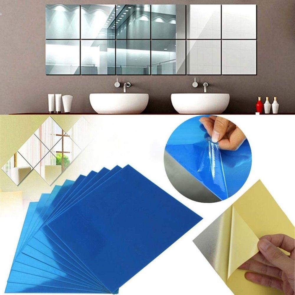 9/16/32 Stücke DIY Quadratischen Spiegel Fliesen Wandaufkleber 3D ...