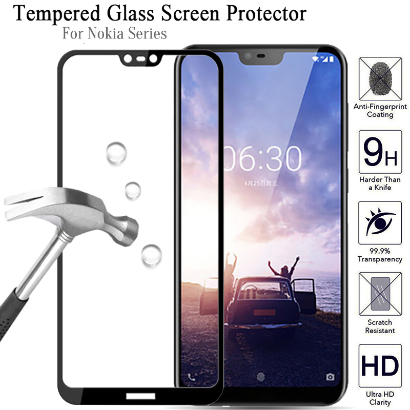2.5D 9H Tempered Glass For Nokia X6 7 Plus Full Cover Screen Protector For Nokia 6 2018 Protective Glass On For Nokia 3 5 8 Film