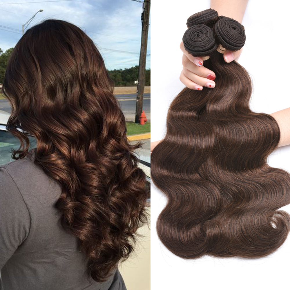 BEAUDIVA Pre Colored Human Hair Weave Brazilian Body Wave 4 2 Natural Black Colored Medium Brown