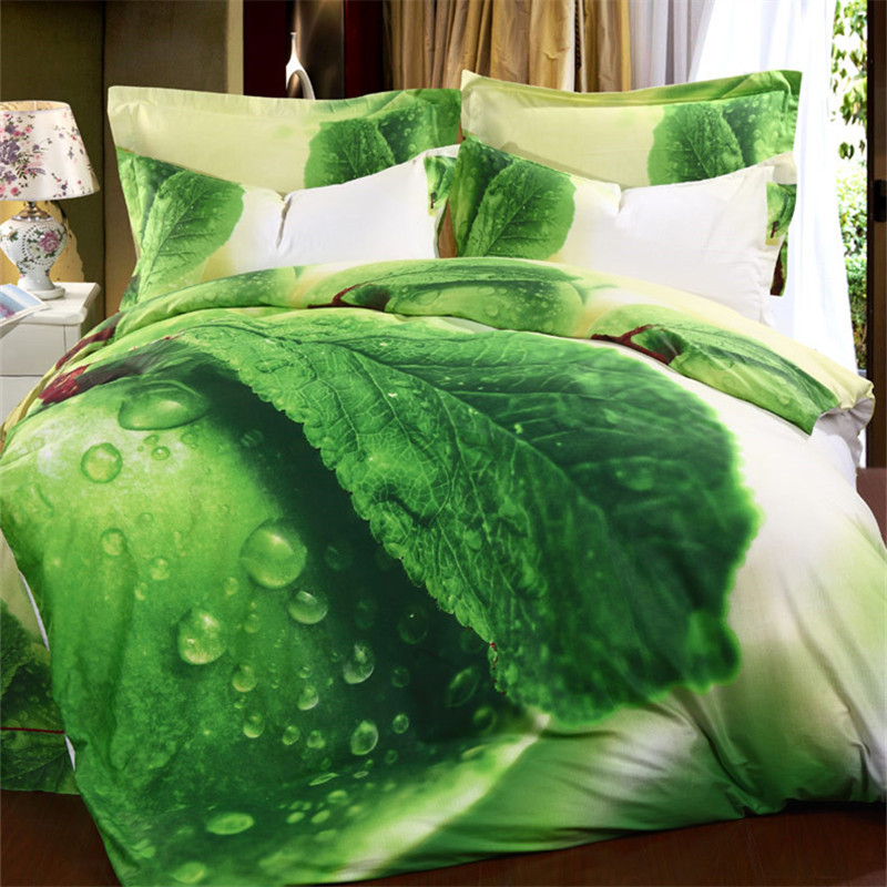 Organic Cotton Vivid Leaves 3d Bedding Set Green Queen