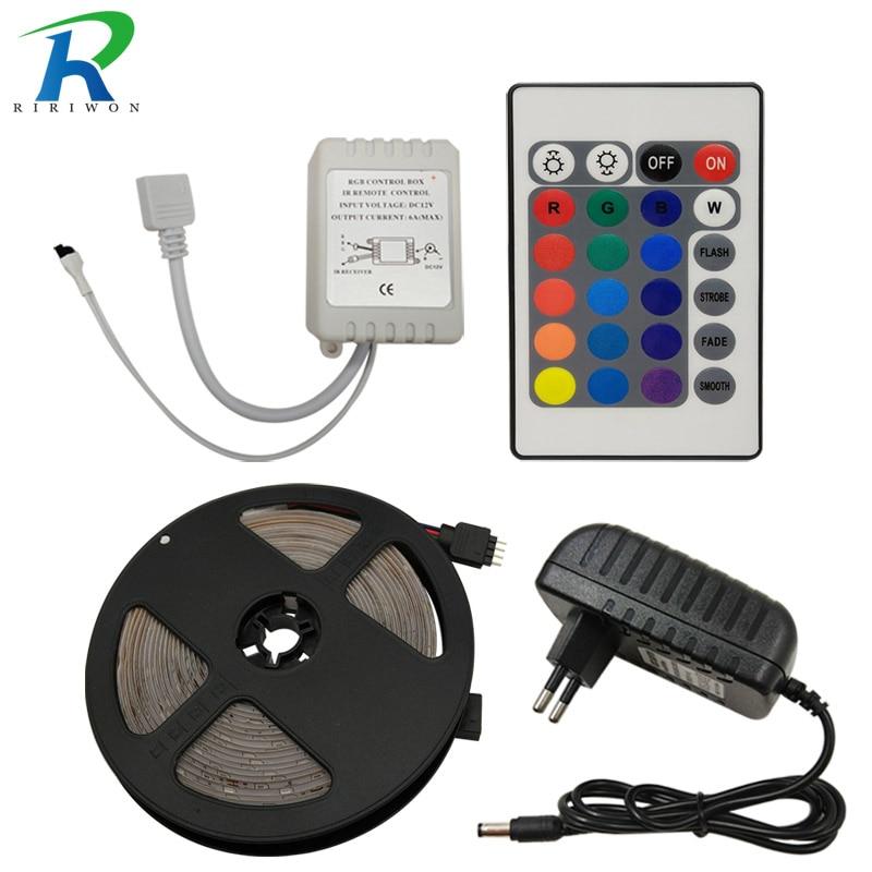5M RGB Stripes SMD 2835 RGB LED Strip Lamp Decor Led Tape Light Strip Nowaterproof Diode Ribbon 24K Controller DC12V adapter set