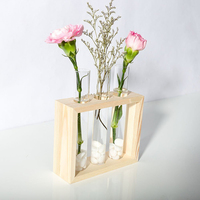 Wall Hanging Plant Terrarium Glass Planter With Wooden Rack Test Tube Shape