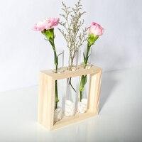 Mkono Wall Hanging Clear Glass Flower Vase Desktop Cylinder Bud Vases Bottle with Wood Holder for Home Decor