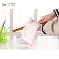 LFH 10Pcs Set High Efficient Anti Grease Dish Cloth Bamboo Fiber Washing Towel Magic Kitchen Cleaning