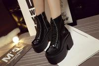 Autumn and winter new fashion all weather waterproof table with thick bottom high heels zipper boot
