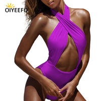 Oiyeefo High Quality Monokini Women Wrap One Piece Swimsuit Sexy Backless Bandage Swimwear Female Soft Material