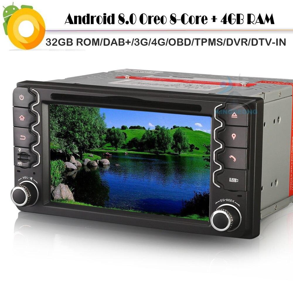 Android 8.0 Autoradio 8 Core 4G RAM 32 GB ROM DAB + Sat Nav WiFi 4G DVD BT USB SD OBD voiture GPS lecteur de Navigation pour TOYOTA Vios