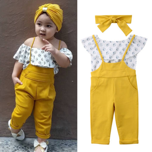 Floral Toddler Baby Girl Kids Off Shoulder Tops+Bib Long Leggings Pants 2018 New baby Kids Girls Summer Clothes Set floral toddler girl clothing 2017 summer kids clothes baby girls off shoulder ruffle crop tops high waist shorts outfits set 3pc