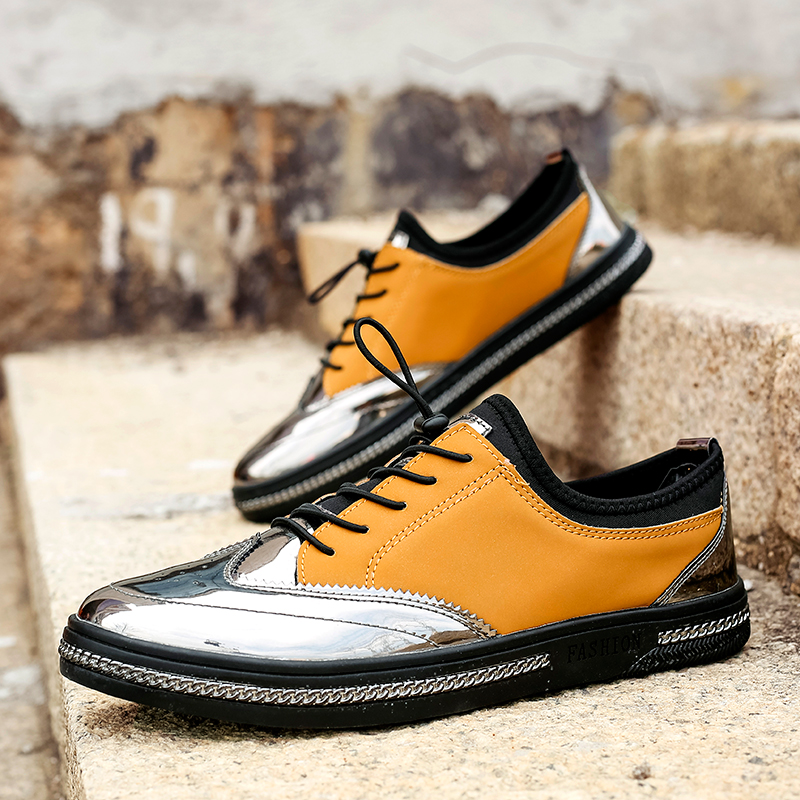 Summer Men s PU Leather Casual Loafers Shoes Men Lace Up Outdoor Flats Walking Shoes Creepers