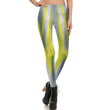 1690 Fitness Elastic Women Leggings Sexy Girl Polyester Slim Fit Workout Pants Trousers Cartoon Stripe Gold Ultraman Printed