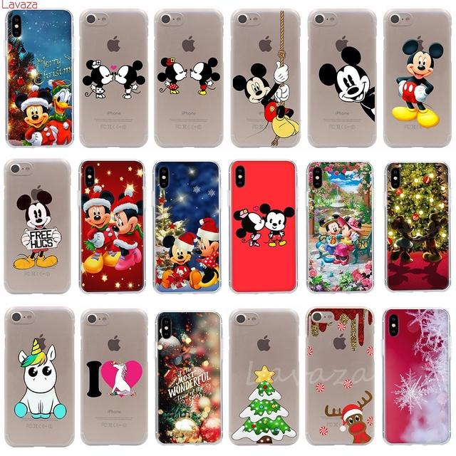 Lavaza Mickey Minnie Mouse Christmas unicorn Hard Phone Coque Shell for Apple iPhone 7 8 Plus X 8 7 6s 5 5s SE for iPhone 7 Case