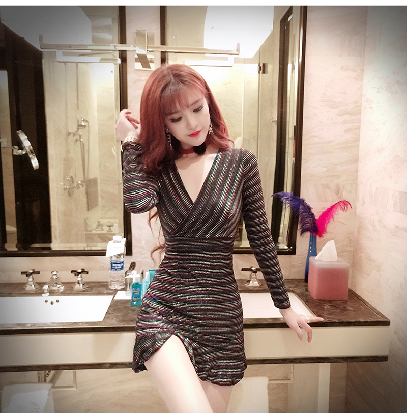 Real shot New women's deep V-neck sexy nightclub dress 2019 fashion temperament hem fishtail pocket hip long sleeve dress 6