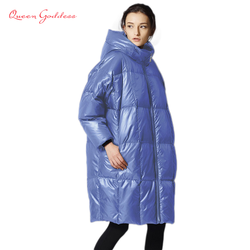 Female is down jacket 2017 fashion casual loose filled 90% white duck cold weather XS-7XL