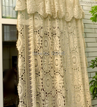 Handmade Crochet Flowers Woven Cotton Lace Curtains Beige Bed Cover European Openwork Decoration Cloth
