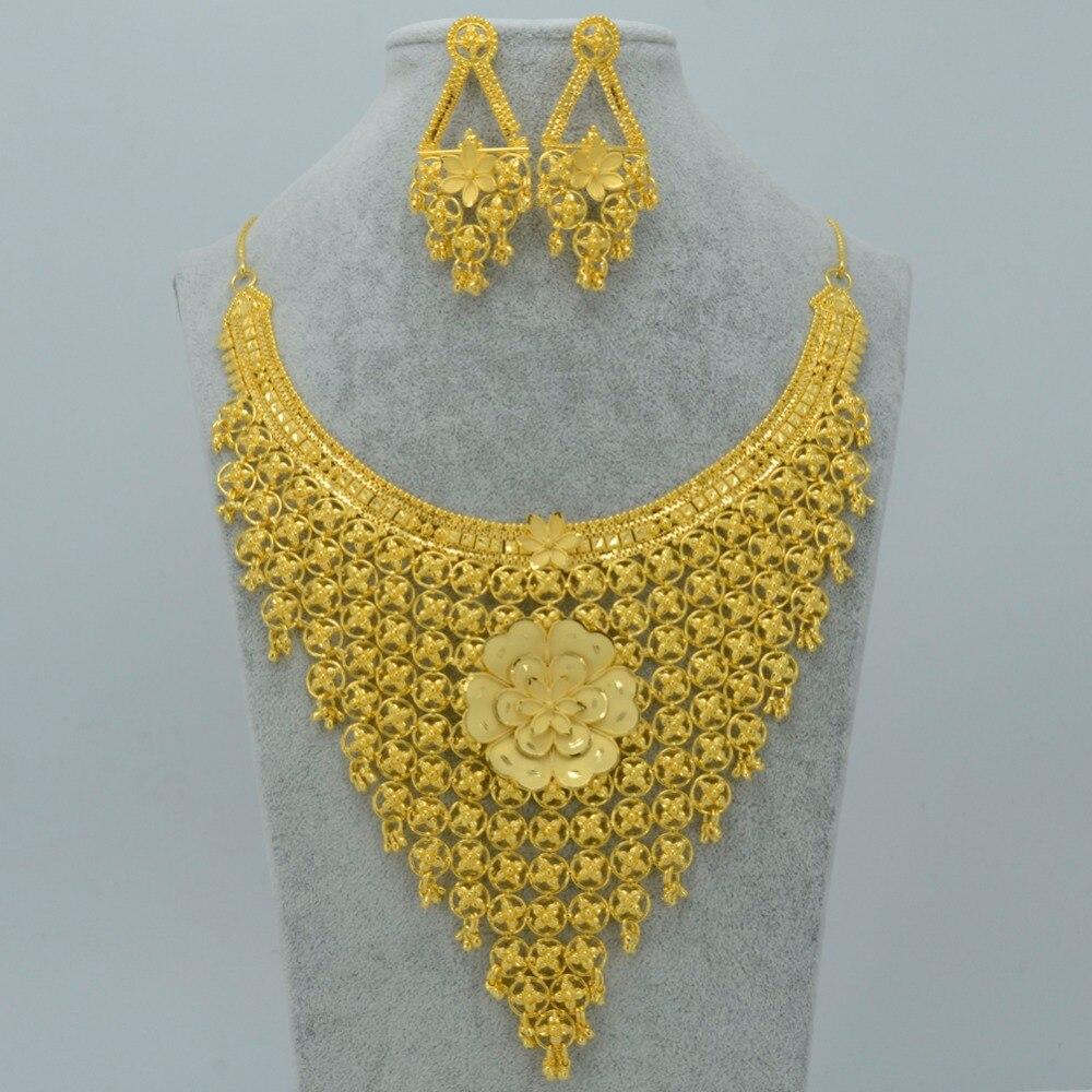 Diamond Rings Sale Dubai: Anniyo Dubai Luxury Jewelry Set Wedding Dowry,Gold Color