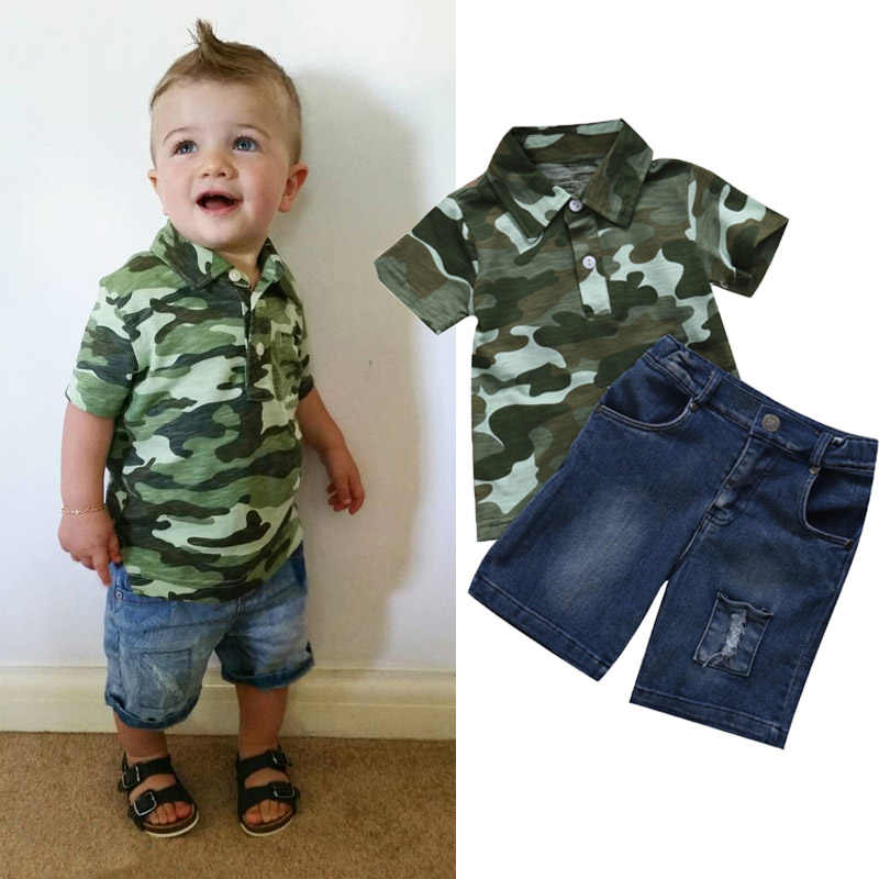 Toddler Kids Baby Boy Outfits Camouflage Print Tops T-Shirt Denim Hole Pants Set