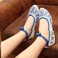 Estilo chino de la vendimia de las mujeres Mary Janes zapatos de flores zapatos planos ocasionales respirables de las mujeres Embarazadas mujer zapatos para caminar pisos blandos