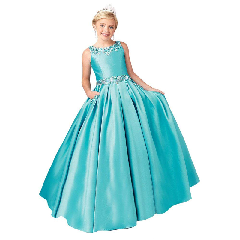 floor length kids ball gowns beaded satin little girls dress sleeveless kids prom dress цены онлайн