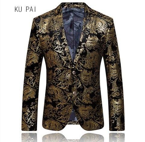 2017 新ヨーロッパとアメリカの潮のブランドのハイエンドセクション人格中国風デジタル印刷スーツ小さな su
