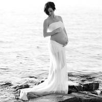 Le Couple Maternity Photography Props Tops and Skirt Outfits White Long Chiffon Maternity Gown Maternity Photo Shoot