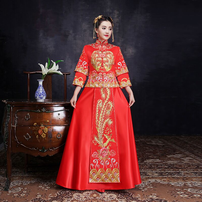 Vintage Wedding Dresses Phoenix: Bride Fall Clothes Vintage Chinese Style Wedding Dress