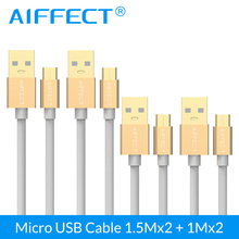 AIFFECT 4 PCs Wholesale Micro USB Cable High Speed Micro-USB B to Data Charging Cord 3.3FTx2 and 5FTx2