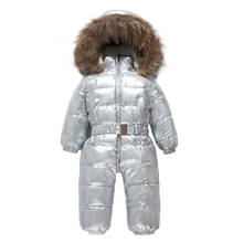 2018 New Kids Jumpsuits Boys Girls Winter Overalls Gold Rompers Duck Down Jumpsuit Real Fur Collar Children Silvery Outerwear