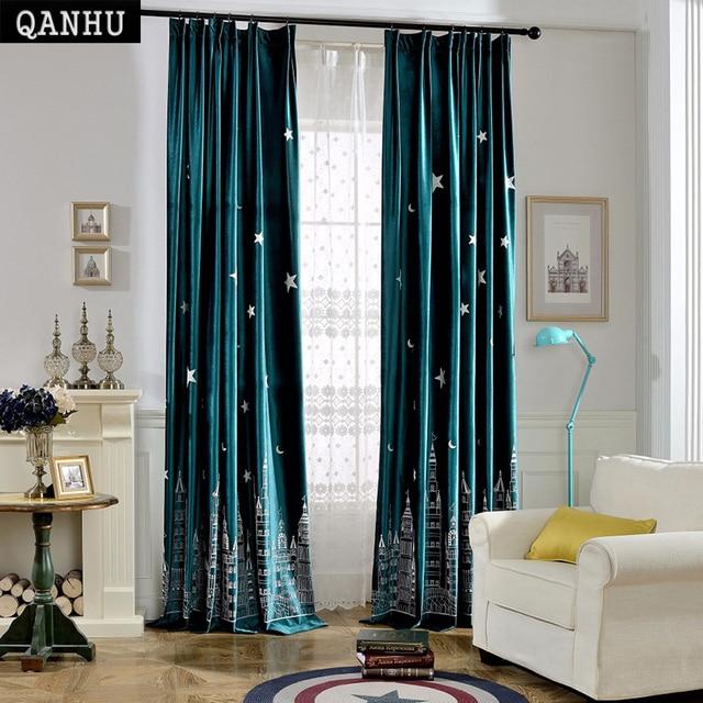 Qanhu Customize Modern Curtain Pattern Style Never City Brand Design