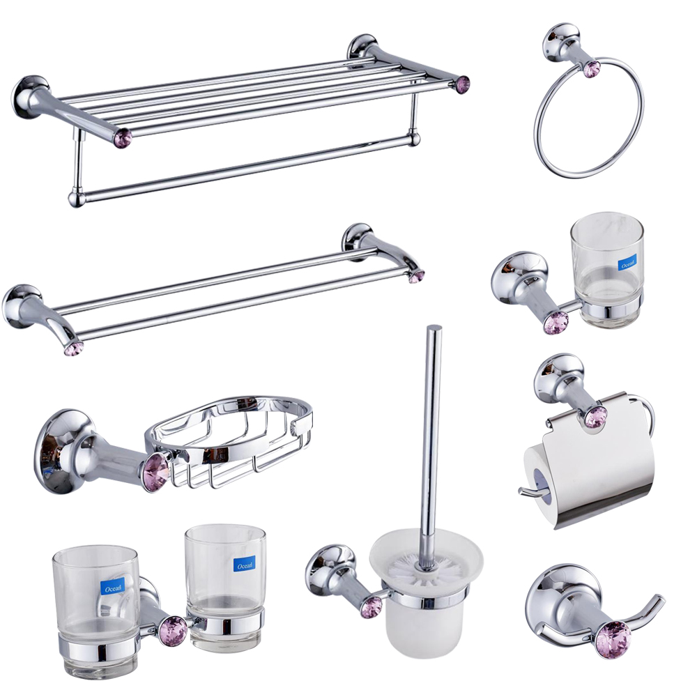 Europe Chrome Polished Bathroom Hardware Set Violet ...