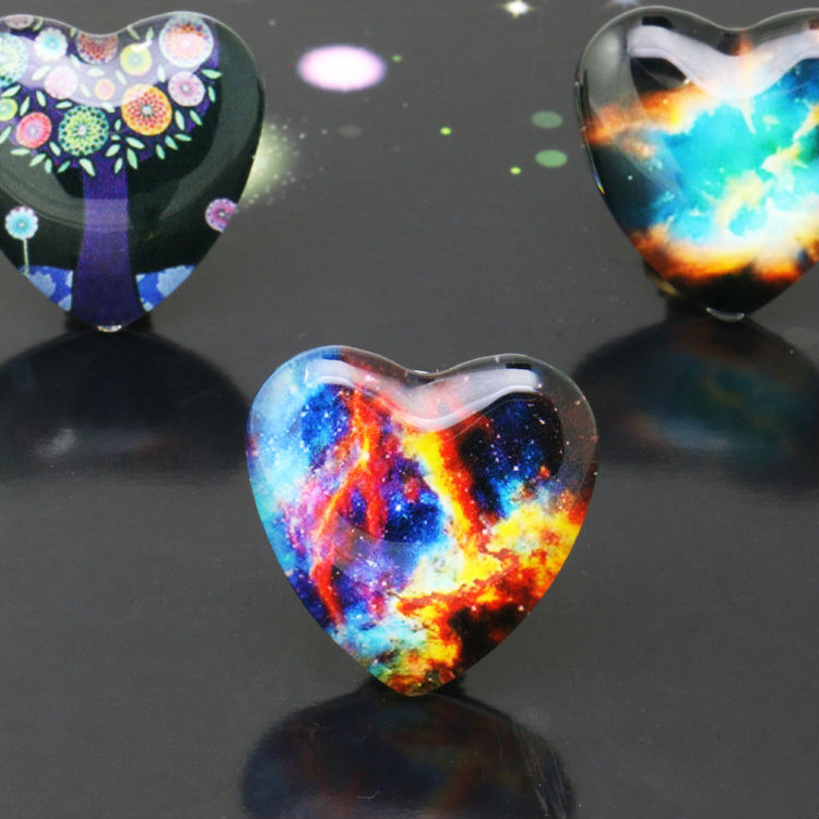 10pcs/lot 25mm Starry Sky Peach heart Handmade Photo Glass Cabochons&Glass Dome Cover Pendant Cameo Settings new fashion 5pcs lot 25mm handmade photo glass cabochons beautiful butterfly series