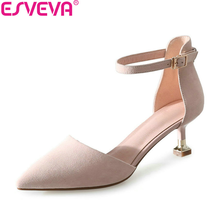 ESVEVA 2018 Women Pumps Buckle Two-piece Spring Autumn Pointed Toe Spring Autumn Thin High Heels Pumps Women Shoes Size 34-39 esveva 2018 women pumps shoes slip on thin super high heels spring and autumn peep toe platform 5 5cm women shoes size 34 43