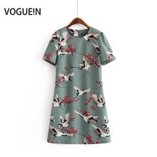 f0f7a5aafde VOGUEIN New Womens O-Neck Slim Crane Floral Print Short Sleeve O-Neck Mini  Dress Wholesale