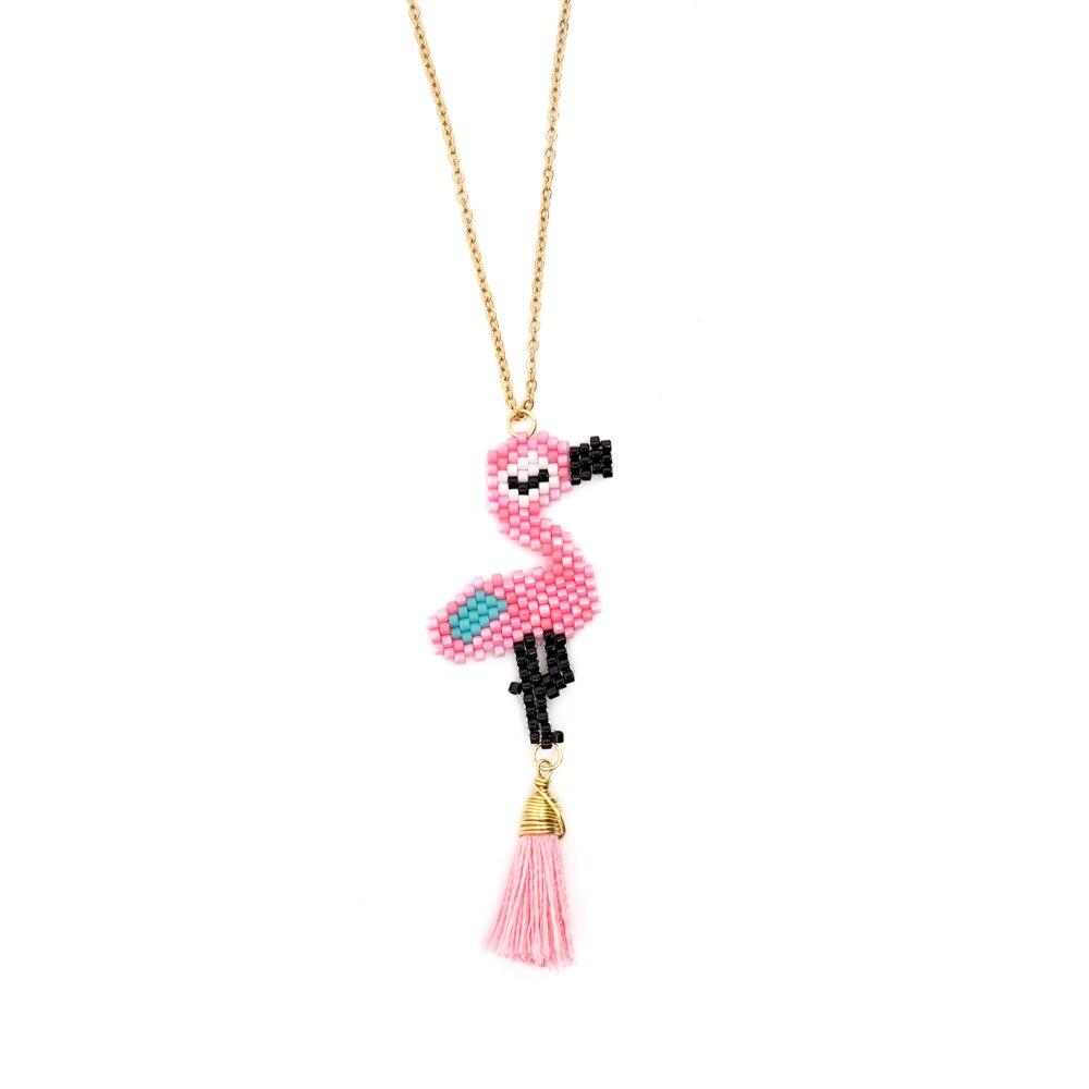 Go2boho MIYUKI Necklaces For Women Pink Flamingo Pendant Necklace Kolye Insta Fashion Jewelry Choker Gift Handmade Collier FemmeGo2boho MIYUKI Necklaces For Women Pink Flamingo Pendant Necklace Kolye Insta Fashion Jewelry Choker Gift Handmade Collier Femme