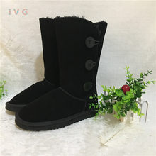 Hot Australian Style Women 3-Buttons Snow Boots Bailey Button Triplet Leather Boots Brand IVG Plus Size US 4-14 free shipping(China)