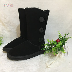 Hot Australian Style Women 3-Buttons Snow Boots Bailey Button Triplet Leather Boots Brand IVG Plus Size US 4-14 free shipping