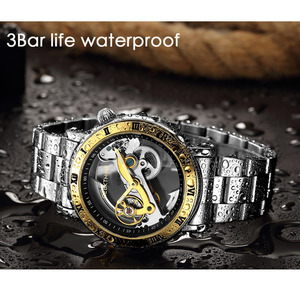 Image 4 - GEEKTHINK Fashion Top brand Skeleton Tourbillon automatic Watch Men Mechanical Skeleton Genuine Leather strap men self wind male