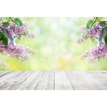 Laeacco Spring Flowers Light Bokeh Wooden Floor Baby Photography Background Customized Photographic Backdrops For Photo Studio