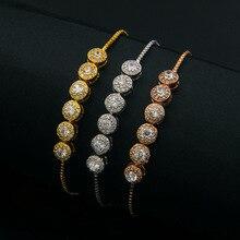 Nueva ronda de seis zirconia cristal pulseras para las mujeres pulseira feminina, chic oro color pulsera ajustable joyería joyeria