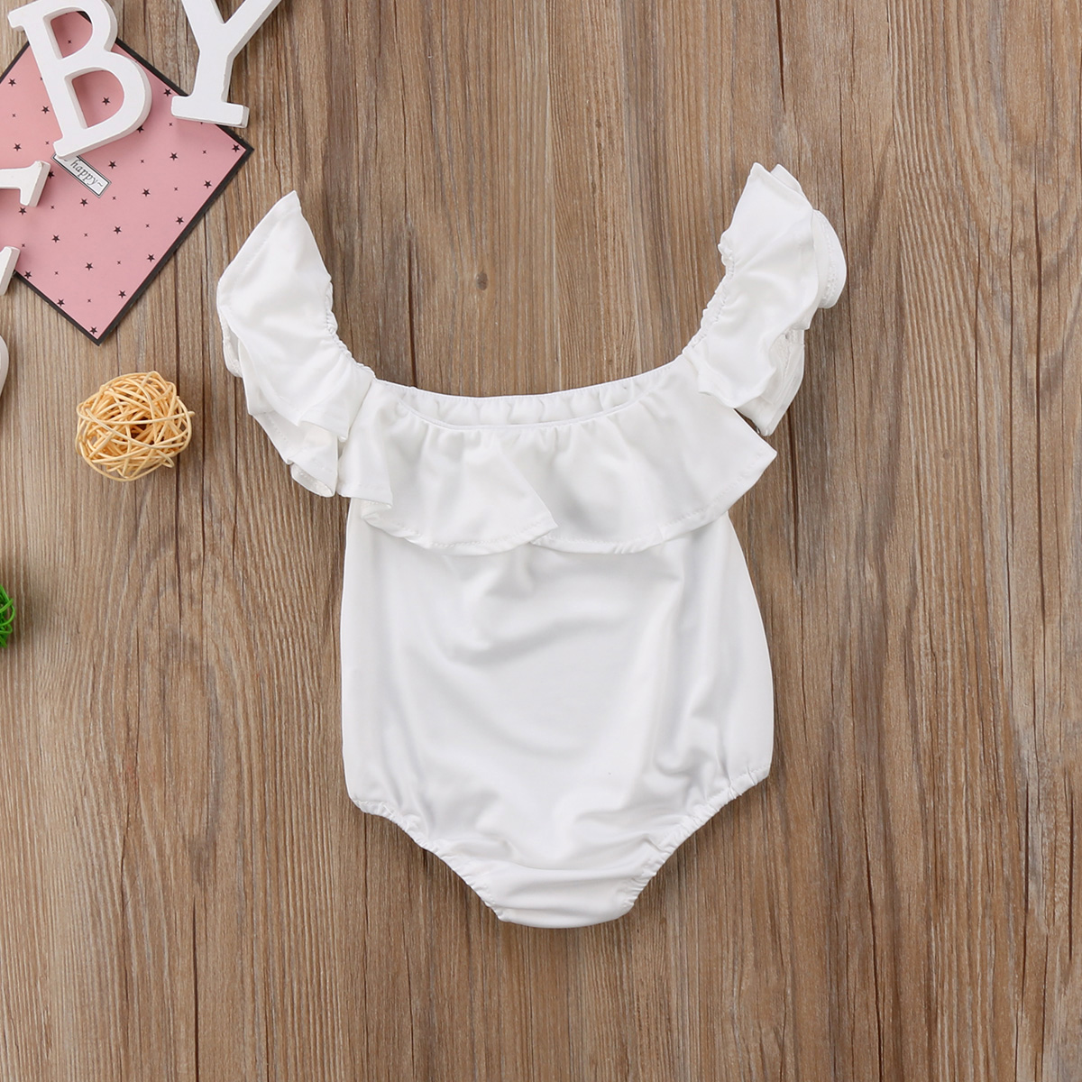 a3c8f57e465 Pudcoco Newborn Baby Girl Clothes 2018 New Ruffle Off Shoulder Romper  Princess Girls White Jumpsuit Baby girls clothing-in Rompers from Mother    Kids on ...
