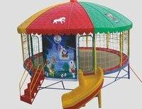 Круглый батут площадка с крышей и слайд детский сад развлечений прыжки Батутный парк, школы прыжки кровать с двери