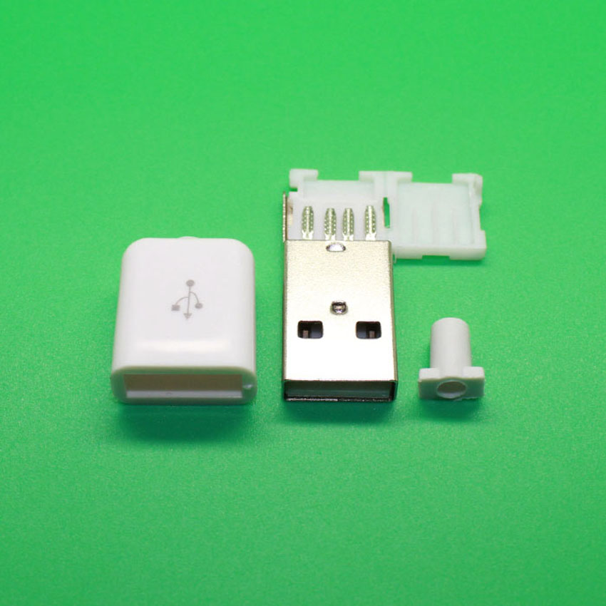 Type A Male USB Plug Socket Connector With WHITE Plastic Cover 5pcs a type male usb connector 4pin plug socket connector with black plastic cover