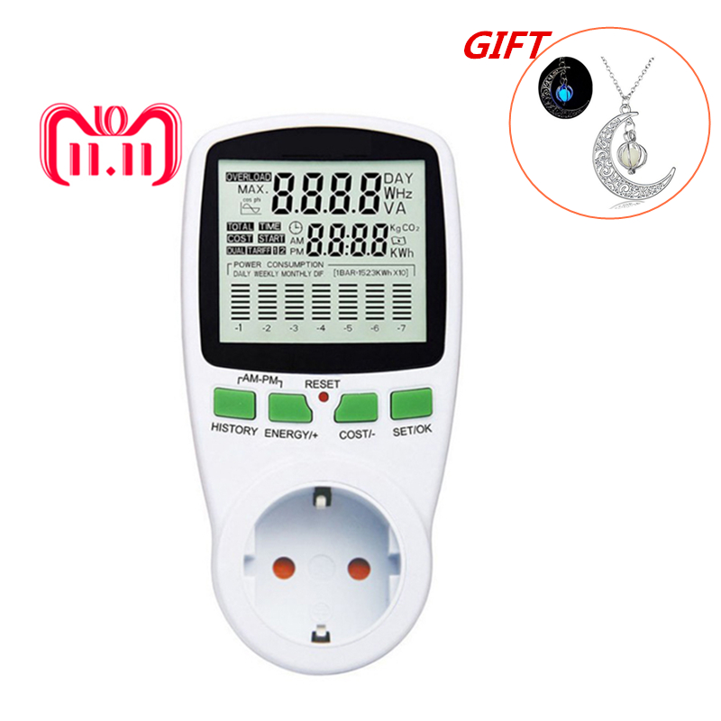 EU Digital LCD Energy Meter Wattmeter Leistung Strom Kwh Power Meter Mess Messung Outlet Power Analyzer