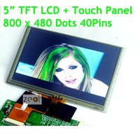 5 Inch 800x480 Dots TFT Resolution 40Pins LCD Display Module Touch Screen Panel For MP4 GPS