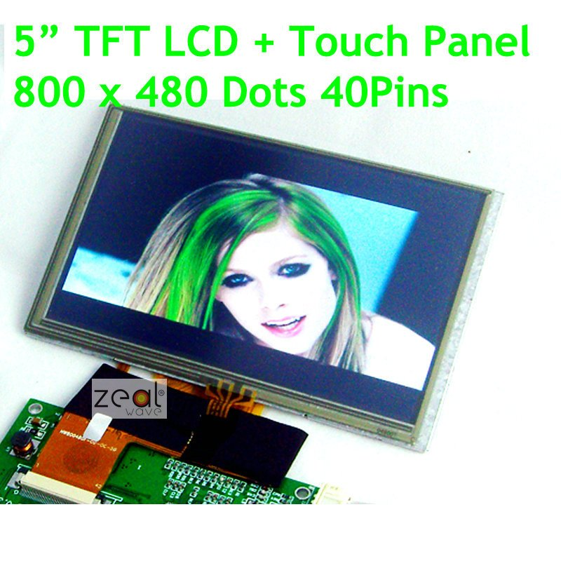 5 inch 800x480 Dots TFT  Resolution  40Pins LCD Display Module+Touch Screen Panel for MP4,GPS,PSP,Car.MCU,PIC, replacement tft touch screen module for fuhu nabi 2 black