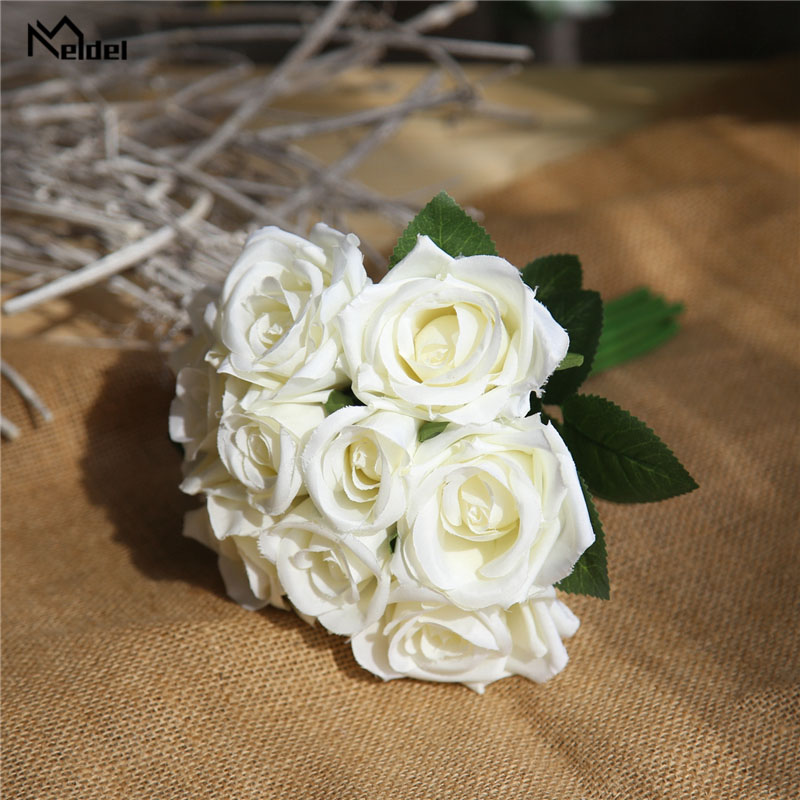 Meldel Wedding Bouquet Bridal Flowers Polyester Rose Bridesmaids Holder Wedding Bouquets Artificial Accessories Wedding Supplies