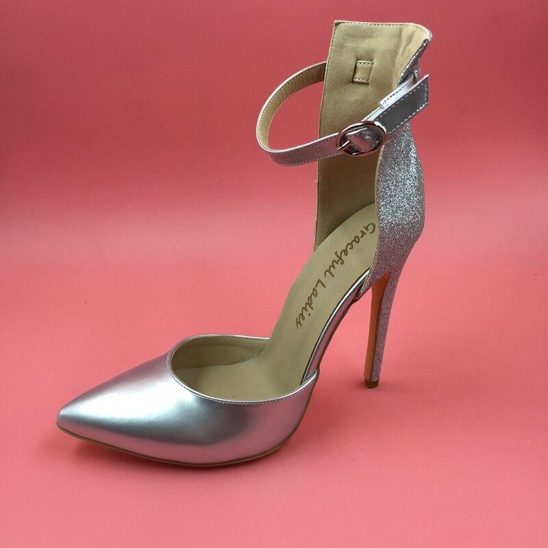 8a9a9278813 Silver Ankle Strap Tow-piece Women Pumps High Heels PointedToe Ladies Shoes  High Heels Party Pump Sapatos Feminino Com Salto