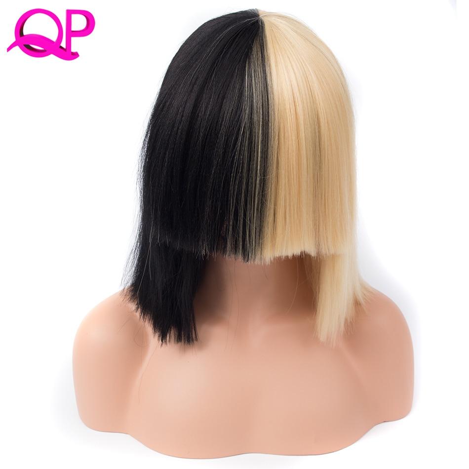 Qp волос высокого Температура Волокно выделяет SIA жив это действия наполовину черный и блондинка парик Косплэй peruk Хэллоуин