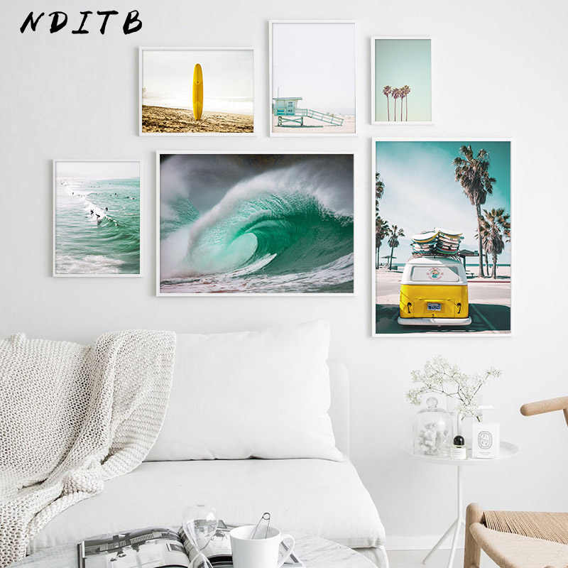 Scandinavian Poster Nordic Ocean Waves Surfing Wall Art Canvas Print Seascape Painting Tropical Decoration Picture Home Decor