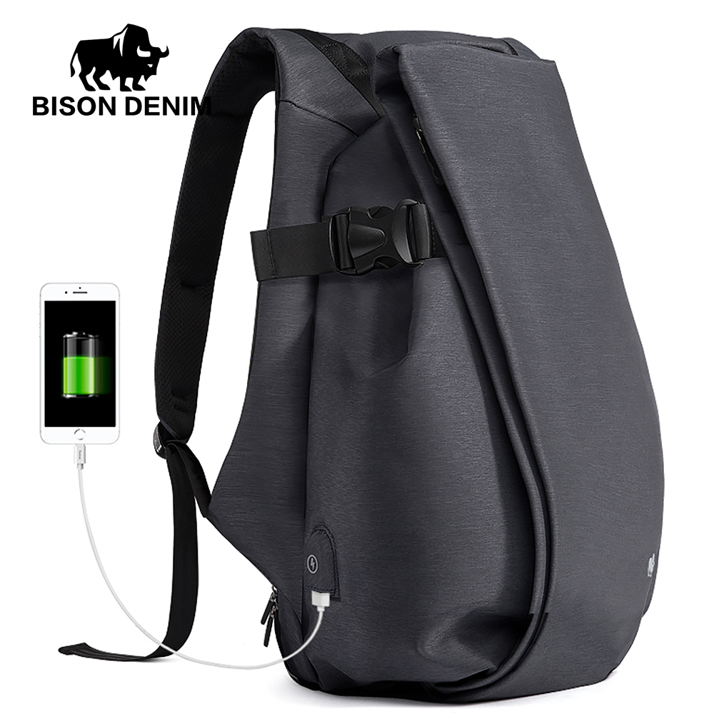 BISON DENIM Fashion Men's Backpacks 15inch Laptop Waterproof Business Travel Bags For Men USB Anti Theft Backpack School Bag waterproof school bag college school backpacks fashion design men casual male business backpack anti theft men travel laptop bag